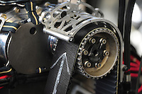 Mar. 9, 2012; Gainesville, FL, USA; Detailed view of the blower pully and blower belt on the car of NHRA top fuel dragster driver T.J. Zizzo during qualifying for the Gatornationals at Auto Plus Raceway at Gainesville. Mandatory Credit: Mark J. Rebilas-