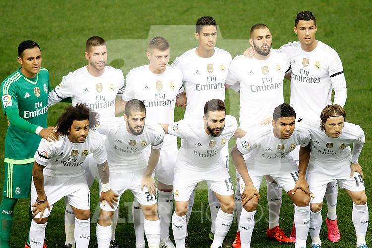 Real Madrid's team photo with Keylor Navas, Sergio Ramos, Toni Kroos, Raphael Varane, Karim Benzema, Cristiano Ronaldo, Marcelo Vieira, Isco, Daniel Carvajal, Casemiro and Luka Modric during La Liga match. October 4,2015. (ALTERPHOTOS/Acero)