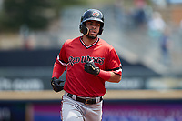 Luis García (2) of the Rochester Red Wings rounds the bases after hitting a home run against the Scranton/Wilkes-Barre RailRiders at PNC Field on July 25, 2021 in Moosic, Pennsylvania. (Brian Westerholt/Four Seam Images)
