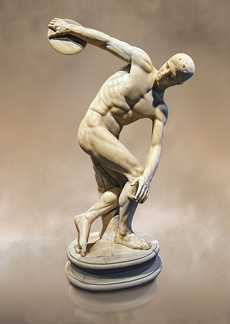Roman sculpture of a Discus Thrower, Paros marble made in the mid 2nd cent AD excavated from the Villa Palombara, Esquilino, Rome. The Discus Thrower statue is almost the only fully preserved example of its type, the statue is a faithful copy of one of the most admired works of antiquity; the bronze discobolus by Greek sculptor Myron circa 450 BC. The statue depicts the moment preceding the release of the discus, the athlete appears to move in the surrounding space with a complex action, exemplifying the Hellenistic experimentation of the plastic reprentation of the human body. Inv 126371, The National Roman Museum, Rome, Italy