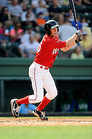 First baseman Jantzen Witte (35) of the Greenville Drive bats in a game against the Lexington Legends on Sunday, April 27, 2014, at Fluor Field at the West End in Greenville, South Carolina. Greenville won, 21-6. (Tom Priddy/Four Seam Images)
