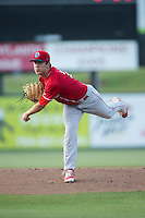 Lakewood BlueClaws starting pitcher Tyler Gilbert (21) follows through on his delivery against the Kannapolis Intimidators at Kannapolis Intimidators Stadium on May 10, 2016 in Kannapolis, North Carolina.  The BlueClaws defeated the Intimidators 5-3.  (Brian Westerholt/Four Seam Images)