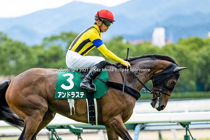KITAKYUSHU,JAPAN-JUL 18: Andraste,ridden by Yuga Kawada, is post parading before the Chukyo Kinen at Kokura Racecourse on July 18,2021 in Kitakyushu,Fukuoka,Japan. Kaz Ishida/Eclipse Sportswire/CSM