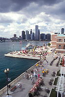 Chicago, Illinois, The Navy Pier on Lake Michigan with Chicago skyline in the background.