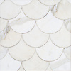 Mermaid Scales, a stone waterjet mosaic, show in polished Calacatta Gold, is part of the Semplice® collection for New Ravenna.