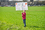 Young fan at the roadside during the 116th edition of Paris-Roubaix 2018. 8th April 2018.<br /> Picture: ASO/Bruno Bade | Cyclefile<br /> <br /> <br /> All photos usage must carry mandatory copyright credit (© Cyclefile | ASO/Bruno Bade)