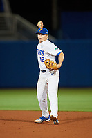 Florida Gators second baseman Blake Reese (12) throws to first base during a game against the Siena Saints on February 16, 2018 at Alfred A. McKethan Stadium in Gainesville, Florida.  Florida defeated Siena 7-1.  (Mike Janes/Four Seam Images)