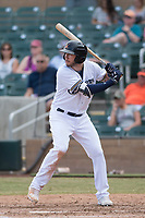 Salt River Rafters third baseman Lucas Erceg (16) of the Milwaukee Brewers organization, at bat during an Arizona Fall League game against the Mesa Solar Sox on October 30, 2017 at Salt River Fields at Talking Stick in Scottsdale, Arizona. The Solar Sox defeated the Rafters 8-4. (Zachary Lucy/Four Seam Images)
