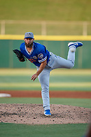 Oklahoma City Dodgers starting pitcher Ben Holmes (33) during a Pacific Coast League game against the New Orleans Baby Cakes on May 6, 2019 at Shrine on Airline in New Orleans, Louisiana.  New Orleans defeated Oklahoma City 4-0.  (Mike Janes/Four Seam Images)