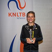 November 30, 2014, Almere, Tennis, Winter Youth Circuit, WJC,  Prizegiving,  Kaj van den Heuvel 3th place<br /> Photo: Henk Koster