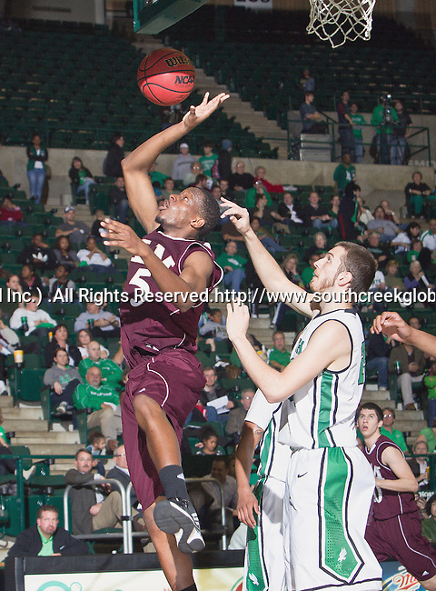 Louisiana Monroe Warhawks forward Christian Bibi Ndongo (5) in action during the game between the Louisiana Monroe Warhawks and the University of North Texas Mean Green at the North Texas Coliseum,the Super Pit, in Denton, Texas. UNT defeats ULM 86 to 51...