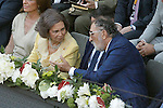 Queen Sofia of Spain, President of Madrid Region Ignacio Gonzalez and the tennis legend Ion Tiriac during Madrid Open Tennis 2015 Final match.May, 10, 2015.(ALTERPHOTOS/Acero)