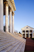 Afternoon light on Rotunda stairs up to row of columns, with Pavilion II in distance #5590. Charlottesville Virginia, University of Virginia.