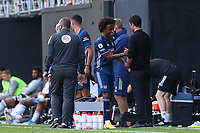 12th September 2020; Craven Cottage, London, England; English Premier League Football, Fulham versus Arsenal; Willian of Arsenal smiles and shakes hands with Arsenal Manager Mikel Arteta