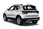 Car pictures of rear three quarter view of 2019 Volkswagen T-Cross Life 5 Door SUV Angular Rear