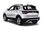 Car pictures of rear three quarter view of 2019 Volkswagen T-Cross Life 5 Door SUV Angular Rear