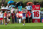CHON BURI, THAILAND - FEBRUARY 17:  Vicky Hurst of USA tees off on the 16th hole during day one of the LPGA Thailand at Siam Country Club on February 17, 2011 in Chon Buri, Thailand. Photo by Victor Fraile / The Power of Sport Images