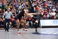 STANFORD, CA - March 7, 2020: Real Woods of Stanford and Grant Willits of Oregon State University during the 2020 Pac-12 Wrestling Championships at Maples Pavilion.