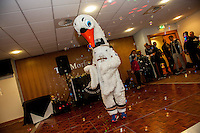 Tuesday  15 December 2015<br /> Pictured: Mascot Cyril the Swan<br /> Re: Kids SCFC Christmas Party at the Liberty Stadium, Swansea