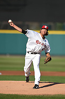 Rochester Red Wings pitcher Mark Hamburger (41) delivers a pitch during the second game of a doubleheader against the Buffalo Bisons on July 6, 2014 at Frontier Field in Rochester, New  York.  Rochester defeated Buffalo 6-1.  (Mike Janes/Four Seam Images)