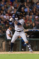 AFL East outfielder Daz Cameron (13), of the Mesa Solar Sox and Detroit Tigers organization, at bat during the Arizona Fall League Fall Stars game at Surprise Stadium on November 3, 2018 in Surprise, Arizona. The AFL West defeated the AFL East 7-6 . (Zachary Lucy/Four Seam Images)