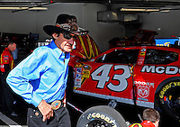 Feb 11, 2009; Daytona Beach, FL, USA; NASCAR Sprint Cup Series team owner Richard Petty during practice for the Daytona 500 at Daytona International Speedway. Mandatory Credit: Mark J. Rebilas-