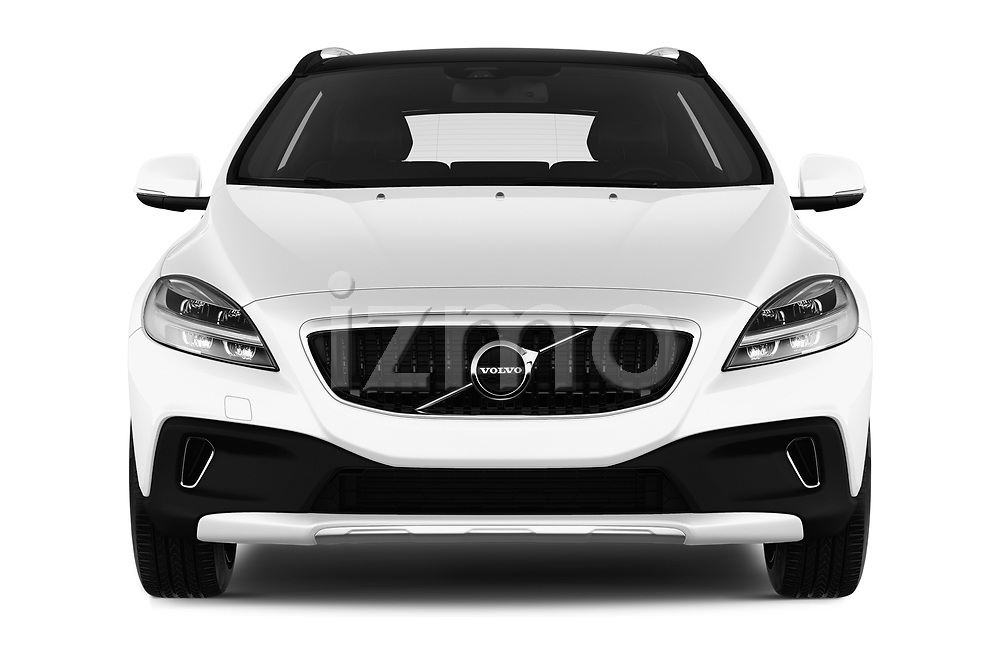 Car photography straight front view of a 2017 Volvo V40-Cross-Country - 5 Door Wagon Front View