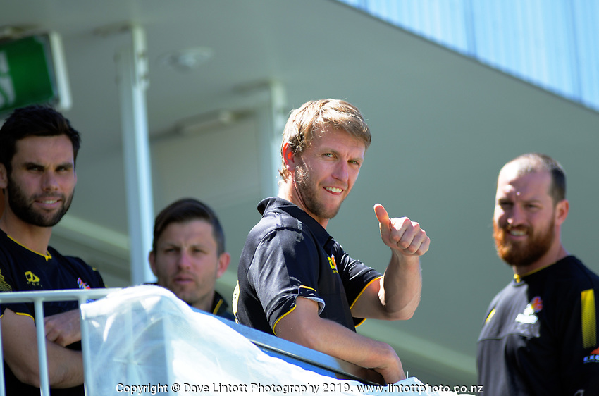 Wellington's Fraser Colson gives the thumbs-up during day one of the Plunket Shield cricket match between the Wellington Firebirds and Canterbury at Basin Reserve in Wellington, New Zealand on Tuesday, 29 October 2019. Photo: Dave Lintott / lintottphoto.co.nz