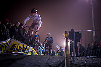 Michael Van den Ham (CAN) understands he needs to put on a show if wanted to be noticed (in the back of the field)<br /> <br /> men's race<br /> 44th Superprestige Diegem (BEL) 2018<br /> ©kramon