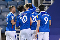 Sean Raggett of Portsmouth (20) is congratulated on scoring the first goal during Portsmouth vs Oxford United, Sky Bet EFL League 1 Football at Fratton Park on 24th November 2020