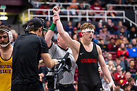 STANFORD, CA - March 7, 2020: Shane Griffith of Stanford during the 2020 Pac-12 Wrestling Championships at Maples Pavilion.