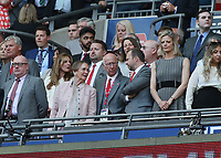 19th May 2018, Wembley Stadium, London, England; FA Cup Final football, Chelsea versus Manchester United; Manchester United vice-chairman Ed Woodward talking to Manchester United legend Bobby Charlton and wife Norma Ball