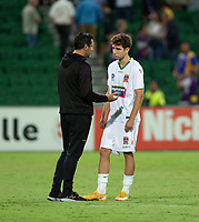 27th March 2021; HBF Park, Perth, Western Australia, Australia; A League Football, Perth Glory versus Newcastle Jets; Craig Deans coach of the Newcastle Jets talks with Lucas Mauragis after the game
