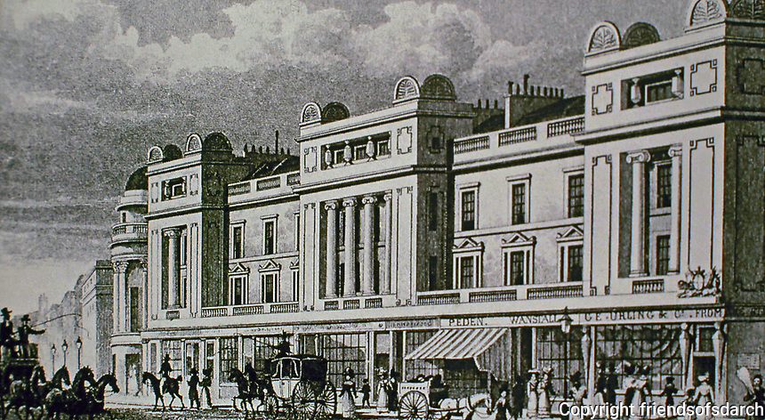 Regent Street, East Side. London, England. Designed by John Nash. Historical photo.
