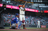 SAN FRANCISCO, CA - JUNE 5: Evan Longoria #10 of the San Francisco Giants bats against the Chicago Cubs during the game at Oracle Park on Saturday, June 5, 2021 in San Francisco, California. (Photo by Brad Mangin)