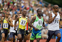 EUGENE, OR--Jebrah Harris, right, competes in the 800 meters during the Steve Prefontaine Classic, Hayward Field, Eugene, OR. SUNDAY, JUNE 10, 2007. PHOTO © 2007 DON FERIA