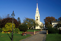 Newport, Rhode Island, RI, The white Trinity Church in Newport in the autumn.
