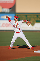 Palm Beach Cardinals second baseman Nick Dunn (12) throws to first base during a Florida State League game against the Daytona Tortugas on April 11, 2019 at Roger Dean Stadium in Jupiter, Florida.  Palm Beach defeated Daytona 6-0.  (Mike Janes/Four Seam Images)