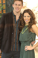 """CHANNING TATUM & JENNA DEWAN.Photocall for """"Stp Up"""", Hotel Eden, Rome, Italy..December 15th, 2006.half length dress green necklace brown suit jacket.CAP/CAV.©Luca Cavallari/Capital Pictures"""