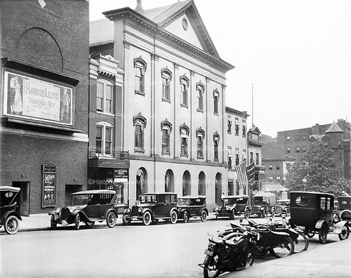 0613-B049. Ford's Theatre and the Petersen House, 511 Tenth St. NW, Washington DC. Next door is Metropolitan Theater advertising Harold Lloyd in Grandma's Boy, 1922.