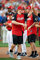 Cincinnati Bengals quarterback Andy Dalton during introductions before the All-Star Legends and Celebrity Softball Game on July 12, 2015 at Great American Ball Park in Cincinnati, Ohio.  (Mike Janes/Four Seam Images)