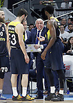 Fenerbahce Istambul's coach Zeljko Obradovic with his players Nikola Kalinic (l) and Ekpe Udoh during Euroleague Quarter-Finals 3rd match. April 19,2016. (ALTERPHOTOS/Acero)