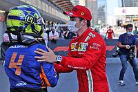 5th June 2021;  F1 Grand Prix of Azerbaijan 4 Lando Norris GBR, McLaren F1 Team congraulates pole winner 16 Charles Leclerc MON, Scuderia Ferrari Mission Winnow, F1 Grand Prix of Azerbaijan at Baku City Circuit