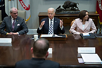 United States President Joe Biden speaks while flanked by Governor Phil Murphy (Democrat of New Jersey) and US Vice President Kamala Harris, during a meeting with a group of bipartisan governors and mayors in the Roosevelt Room of the White House in Washington, D.C., U.S., on Wednesday, July 14, 2021. Biden made his case for his sweeping social and infrastructure agenda to Senate Democrats today, a day after key members of their caucus reached agreement on a crucial step forward for the plan. <br /> CAP/MPI/RS<br /> ©RS/MPI/Capital Pictures<br /> CAP/MPI/RS<br /> ©RS/MPI/Capital Pictures