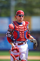 Reading Fightin Phils catcher Joel Fisher (30) during a game against the New Hampshire Fisher Cats on June 6, 2016 at FirstEnergy Stadium in Reading, Pennsylvania.  Reading defeated New Hampshire 2-1.  (Mike Janes/Four Seam Images)