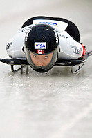 15 December 2006: Lindsay Alcock, from Canada, starts her run at the FIBT Women's World Cup Skeleton Competition at the Olympic Sports Complex on Mount Van Hoevenburg  in Lake Placid, New York, USA. &#xA;&#xA;Mandatory Photo credit: Ed Wolfstein Photo<br />
