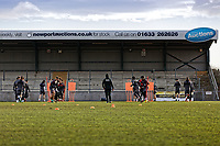 Pictured: Training session under way. Thursday 18 January 2018<br /> Re: Players and staff of Newport County Football Club prepare at Newport Stadium, for their FA Cup game against Tottenham Hotspur in Wales, UK