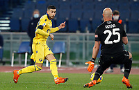 Hellas Verona s Mattia Zaccagni, left, has his shot saved by Lazio s goalkeeper Jose Reina during the Serie A soccer match between Lazio and Hellas Verona at Rome's Olympic Stadium, December 12, 2020.<br /> UPDATE IMAGES PRESS/Riccardo De Luca