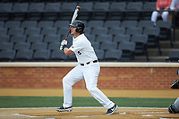 Bobby Seymour (3) of the Wake Forest Demon Deacons follows through on his swing against the Davidson Wildcats at David F. Couch Ballpark on May 7, 2019 in  Winston-Salem, North Carolina. The Demon Deacons defeated the Wildcats 11-8. (Brian Westerholt/Four Seam Images)
