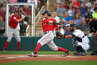 Boston Red Sox second baseman Dustin Pedroia (15) at bat in front of catcher Kurt Suzuki and umpire Jeff Kellogg during a Spring Training game against the Minnesota Twins on March 16, 2016 at Hammond Stadium in Fort Myers, Florida.  Minnesota defeated Boston 9-4.  (Mike Janes/Four Seam Images)